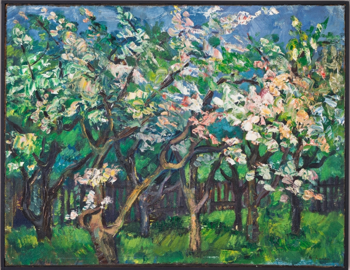 Heinrich Nauen - Blühende Obstbäume, 1904/1905 | Öl auf Karton | 40 x 52,5 cm